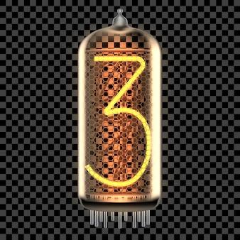 Lâmpada indicadora de tubo nixie com número