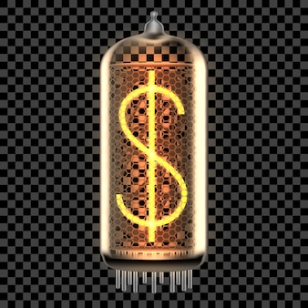 Lâmpada indicadora de tubo nixie com símbolo de dólar