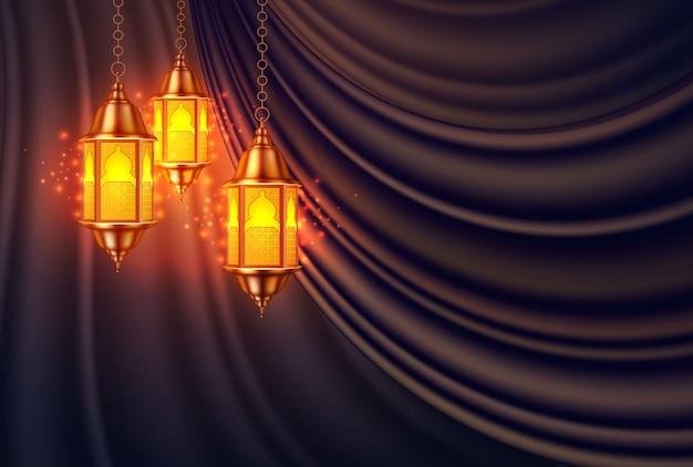 Lâmpada kareem de ramadan realista de vetor em fundo de cortina de seda.