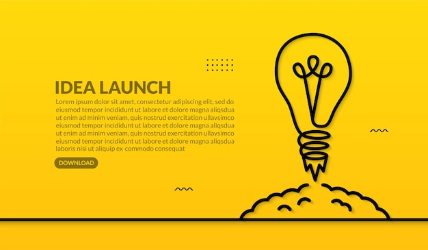Lâmpada lançando para o espaço em fundo amarelo, ideias criativas para o conceito de inicialização de negócios