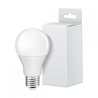 Lâmpada led elétrica com embalagem de papelão branco