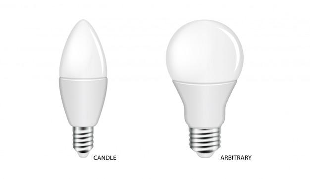 Lâmpada led mock up conjunto. lâmpadas elétricas realistas