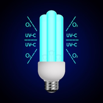 Lâmpada luminosa azul com raios ultravioleta luz ultravioleta lâmpada bactericida esterilizador uvc