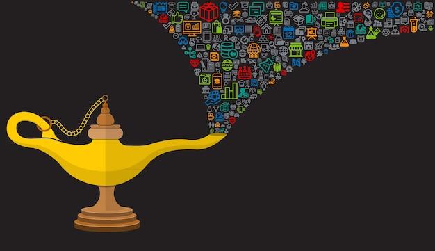 Lâmpada mágica aladin prodip com ícones