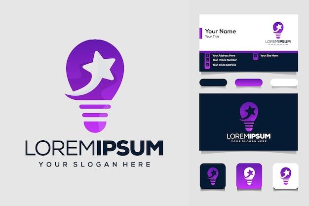 Lâmpada moderna criativa com modelo de design de logotipo de estrelas e cartão de visita