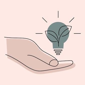 Lâmpada na mão mão segura lâmpada ecológica verde e planta verde conceito de energia verde