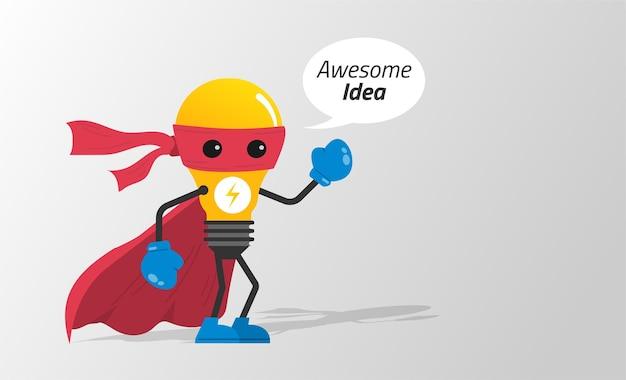 Lâmpada no conceito de fantasia de super-herói. ilustração de símbolo de ideia incrível