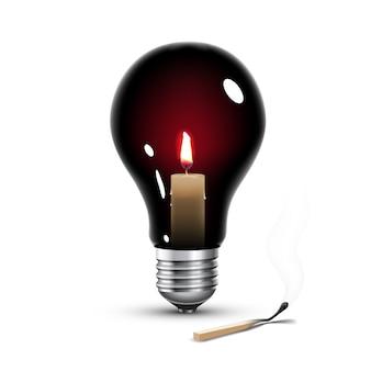 Lâmpada preta com vela dentro