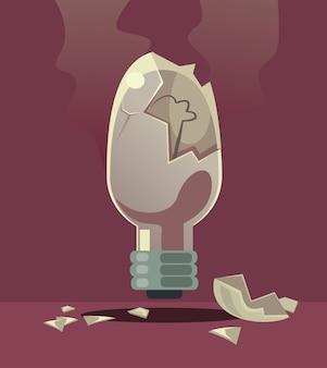 Lâmpada quebrada má ideia invenção rejeitada