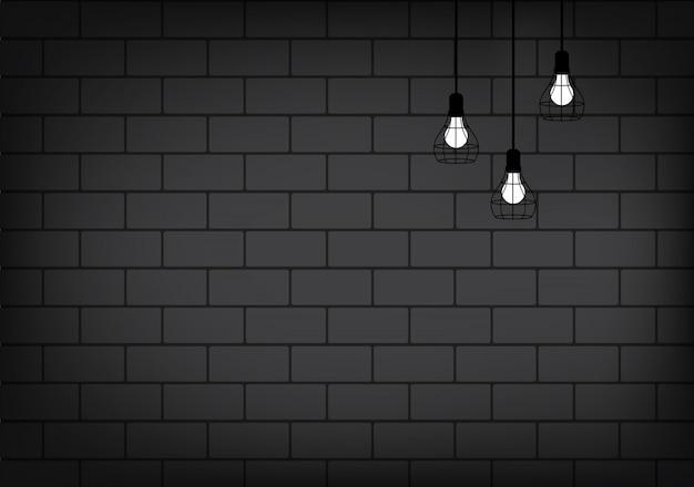 Lâmpada realista e iluminação na parede de tijolo