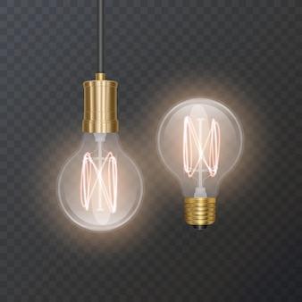 Lâmpada realista em estilo retro fica bem em substrato escuro
