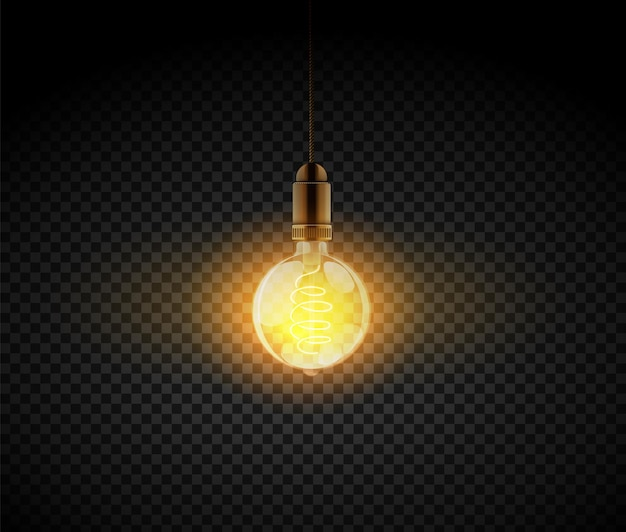 Lâmpada realista. lâmpada elétrica retro, elementos de decoração de interiores. lâmpada brilhante escura de ilustração vetorial em fundo preto transparente