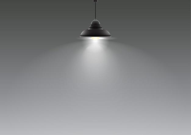 Lâmpada realista pendurada no teto. ilustração vetorial
