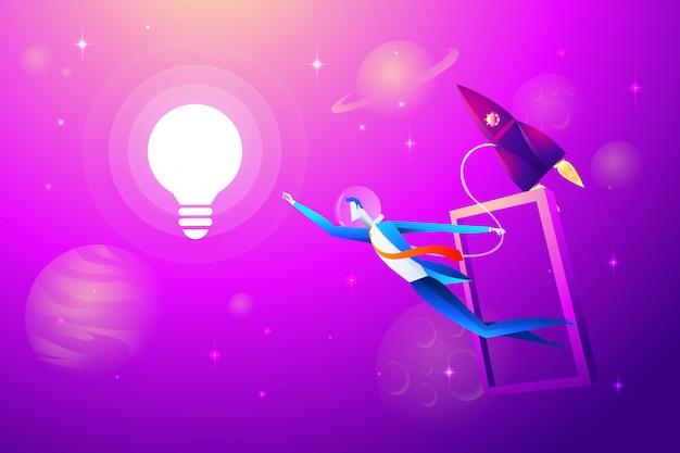 Lâmpada voadora e foguete com empresário tentam agarrar. conceito de negócios
