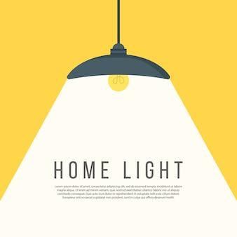 Lâmpadas acendem luzes. interior moderno. lustre de móveis, piso e mesa candeeiro em estilo cartoon plana. lugar para o seu texto. banner de publicidade comercial com lugar para o seu texto. ilustração.