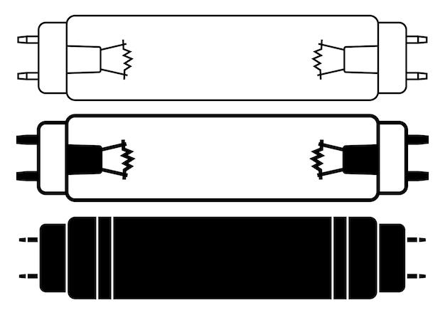 Lâmpadas bactericidas, ícones. ícones de desinfecção por luz ultravioleta. esterilização de ar e superfícies por luz ultravioleta. irradiação germicida ultravioleta. equipamento antibacteriano. editável. ilustração vetorial