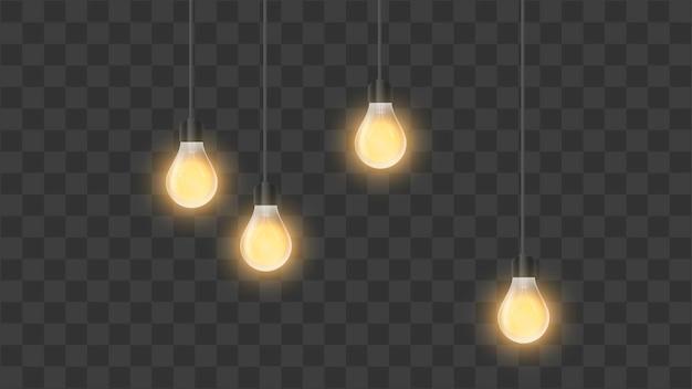 Lâmpadas brilhantes realistas.