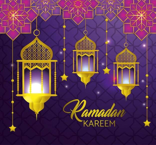 Lâmpadas, com, estrelas, penduradas, para, ramadan, kareem