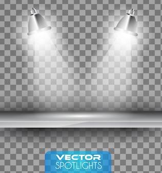 Lâmpadas com halo de luz apontando para a prateleira