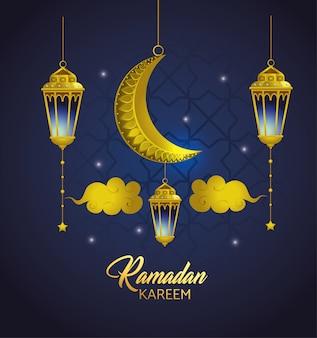 Lâmpadas, com, nuvens, e, lua, penduradas, para, ramadan, kareem