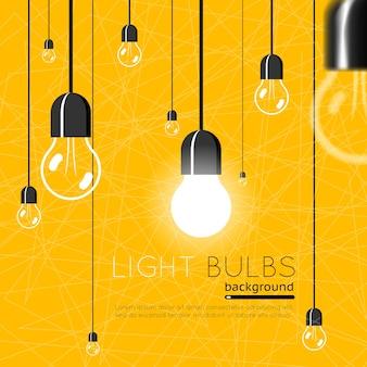 Lâmpadas. conceito de ideia. poder de energia, luz elétrica brilhante