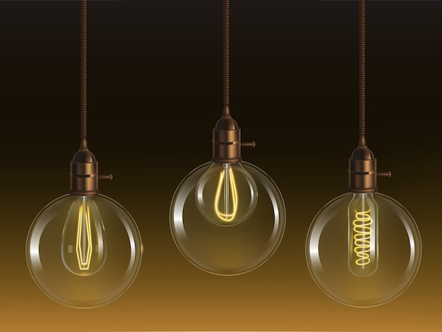 Lâmpadas de bola de vidro vintage brilhante com lâmpadas incandescentes retrô de forma tubular e globo