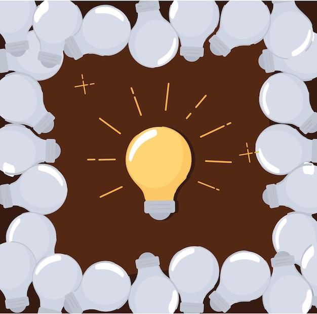 Lâmpadas de ideia brilhante