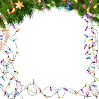 Lâmpadas de natal coloridas em branco.