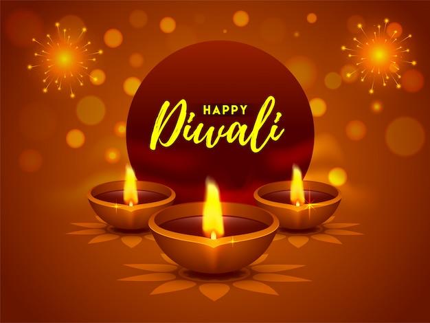 Lâmpadas de óleo iluminadas (diya) para o conceito de celebração feliz festival de diwali