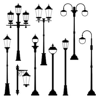 Lâmpadas de rua antigas definidas em estilo monocromático. as ilustrações isolam. lanterna urbana clássica