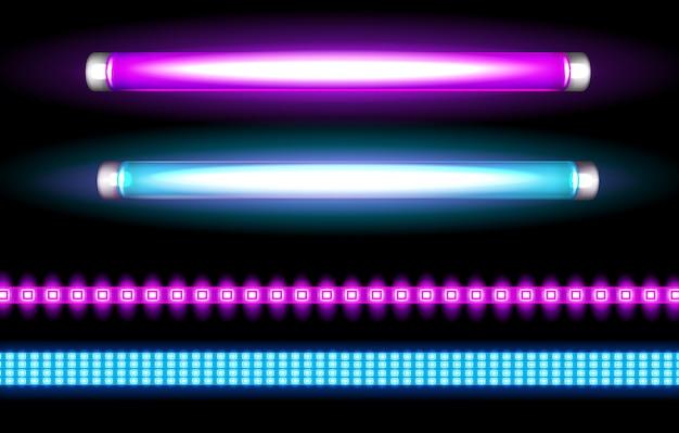 Lâmpadas de tubo de néon e tiras de led, lâmpadas longas