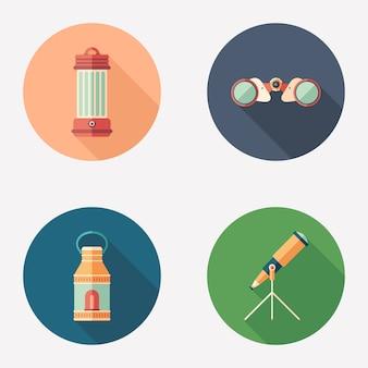 Lâmpadas e dispositivos de observação plana rodada conjunto de ícones.