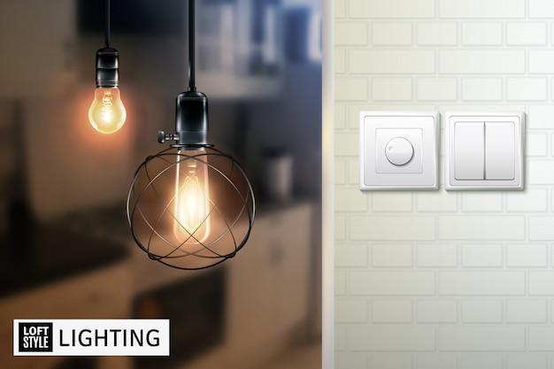 Lâmpadas e interruptores de estilo loft