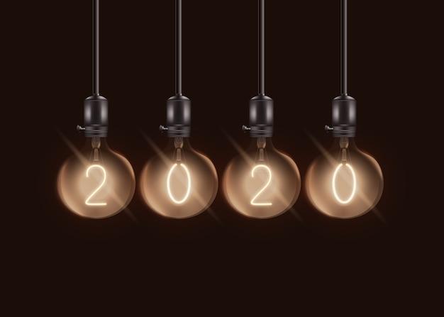 Lâmpadas elétricas redondas com número dentro de lâmpadas esféricas - conjunto realista de decoração de lâmpada de ano novo -