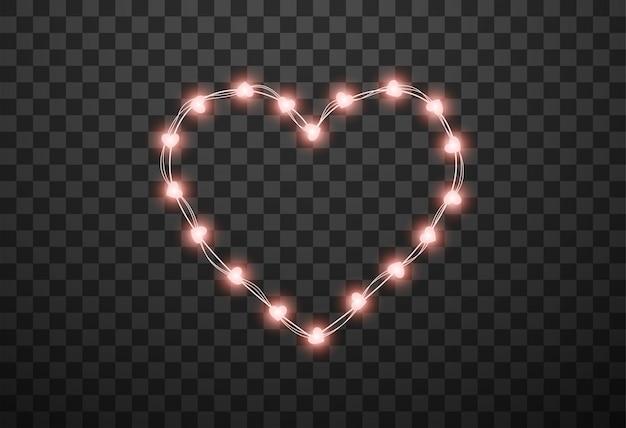 Lâmpadas em forma de coração em guirlandas