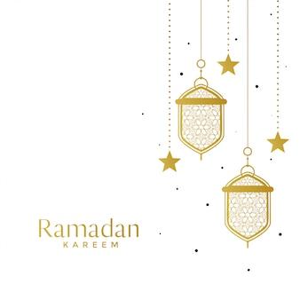 Lâmpadas islâmicas elegantes e fundo estrela ramadan