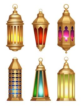 Lâmpadas islâmicas. ramadan lanternas árabe vintage dourado lâmpadas de iluminação ilustrações realistas. lanterna de lâmpada muçulmana, ilustração islâmica ou árabe