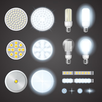 Lâmpadas led e conjunto de efeitos de luzes