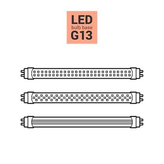 Lâmpadas led g13 vector conjunto de ícones de contorno