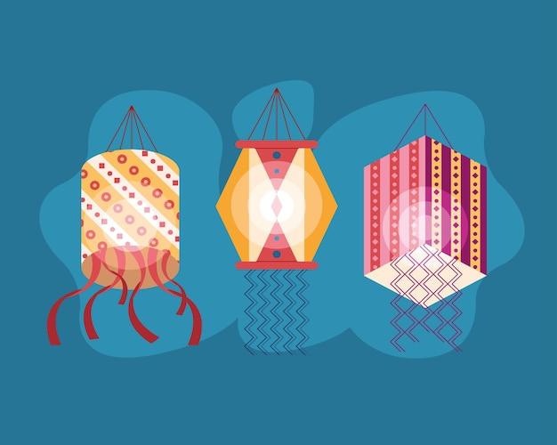 Lâmpadas penduradas celebração diwali