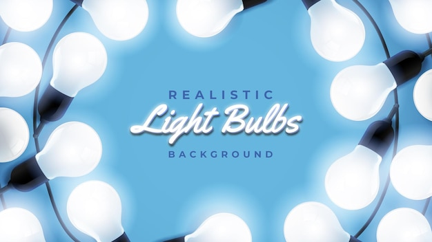 Lâmpadas realistas em fundo azul