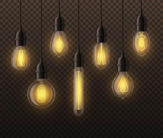 Lâmpadas realistas. lâmpadas brilhantes edison vintage penduradas. elementos de sala do teto do loft com iluminação retro realista de lâmpada interior