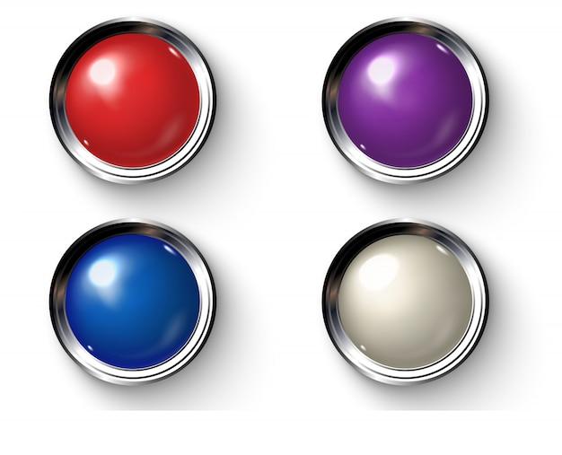 Lâmpadas retrô coloridas com bordas metálicas.