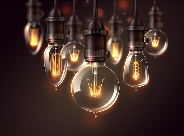Lâmpadas vetoriais vintage em fundo escuro lâmpadas brilhantes realistas no estilo steampunk