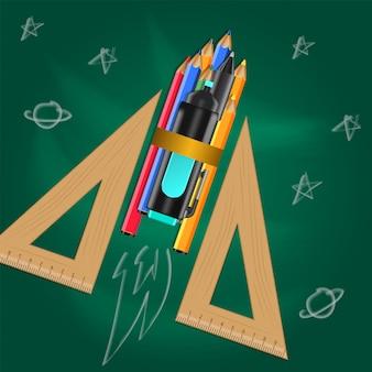 Lançador de foguetes com lápis e triângulo