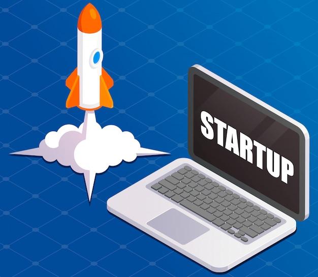 Lançamento bem-sucedido da inicialização. lançamento do foguete. laptop com foguete. fase de decolagem do voo, vôos espaciais orbitais no ar, símbolo de inicialização do negócio. ilustração isométrica em fundo de tecnologia.