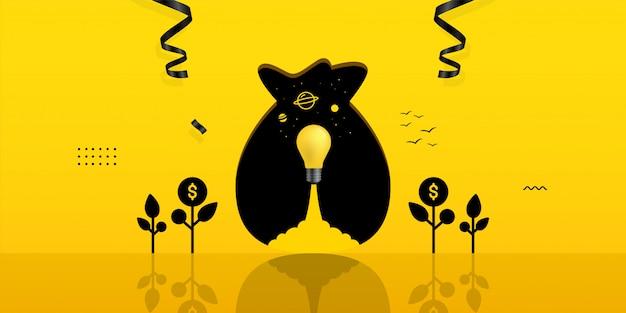 Lançamento da lâmpada dentro do buraco do saco de dinheiro em fundo amarelo, conceito de investimento