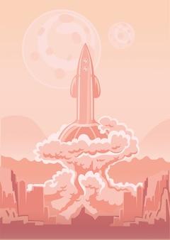 Lançamento da nave espacial do foguete. ilustração.
