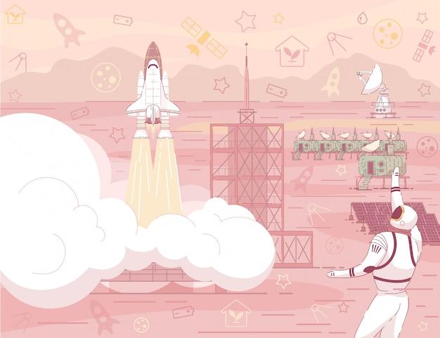 Lançamento da nave espacial na paisagem do deserto de planeta vermelho