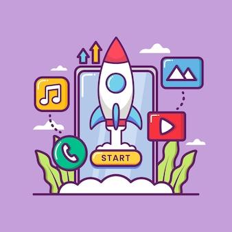Lançamento de aplicativo com foguete e smartphone